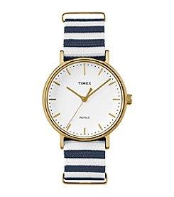 Timex® Women's Weekender Fairfield Blue/White Stripe Nylon Slip-Thru Strap Watch