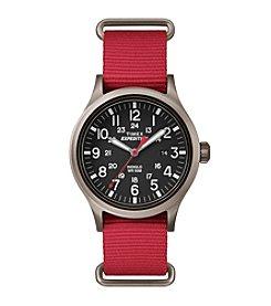Timex® Men's Expedition Scout Red Nylon Slip-Thru Strap Watch