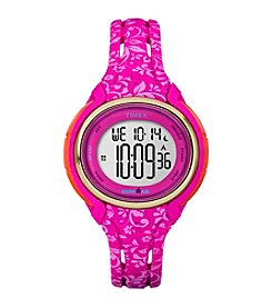 Timex® Women's Ironman Sleek 50 Pink Floral Resin Strap Watch