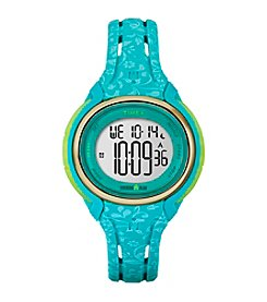 Timex® Women's Ironman Sleek 50 Blue Floral Resin Strap Watch