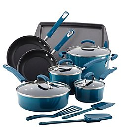 Rachael Ray® Marine Blue 14-pc. Hard Enamel Nonstick Cookware Set with Cook Tools