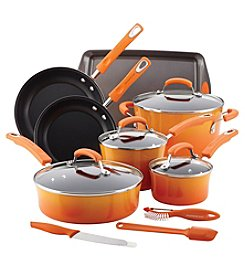 Rachael Ray® Orange 14-pc. Hard Enamel Nonstick Cookware Set