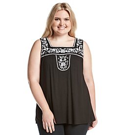 Living Doll® Plus Size Embroidered Square Neck Tank