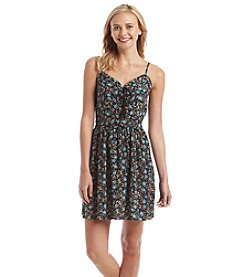 Be Bop Floral Lace Up Neck Dress