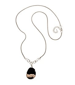 Relativity® Silvertone Snake Chain Necklace With Natural Stone Pendant