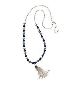 Relativity® Silvertone Beaded Necklace With Tassel Chain
