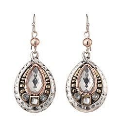 Studio Works® Two-Tone Teardrop Metal Earrings With Stones