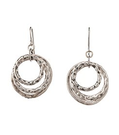 Studio Works® Silvertone Round Layered Metal Earrings