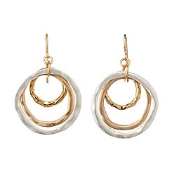 Studio Works® Two-Tone Round Layered Metal Earrings