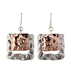 Studio Works® Two-Tone Square Layered With Stones Metal Earrings