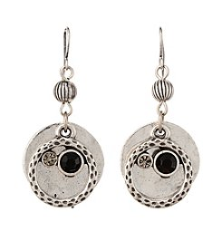 Studio Works® Silvertone Round Layered Metal Earrings With Stones