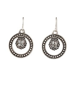 Studio Works® Silvertone Round Layered Metal With Stones Earrings