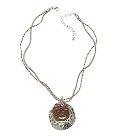 Studio Works® Round Tri-Tone Layered Pendant With Stones