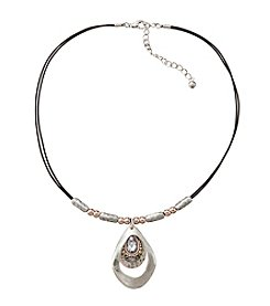 Studio Works® Tri-Tone Layered Teardrop Pendant With Stones