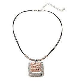 Studio Works® Two-Tone Square Layered Pendant With Stones