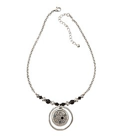 Studio Works® Silvertone Round Drop Chain Necklace With Stones