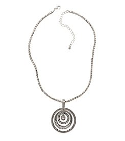 Studio Works® Silvertone Layered Round Drop Necklace With Crystal Stones