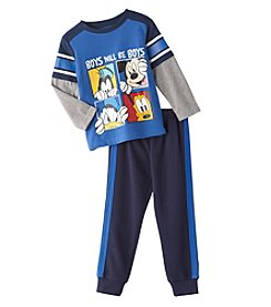 Disney® Boys' 2T-4T 2-Piece Boys Will Be Boys Tee And Joggers Set