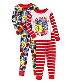Sesame Street® Boys' 2T-4T 4-Piece The Gang's All Here Pajama Set