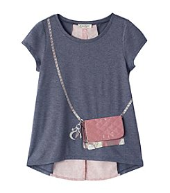 Jessica Simpson Girls' 7-16 Short Sleeve Nora Purse Tee