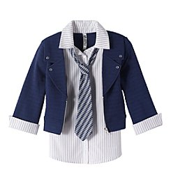 Beautees Girls' 7-16 Collared Shirt With Tie And Moto Jacket