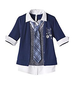 Beautees Girls' 7-16 Collared Shirt With Tie And Cardigan