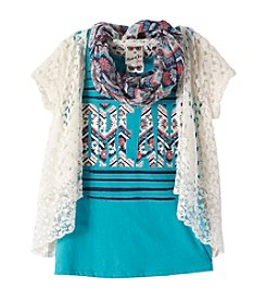 Belle du Jour Girls' 7-16 Tee With Crochet Cozy And Scarf