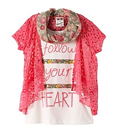 Belle du Jour Girls' 7-16 Short Sleeve Tee With Crochet Cozy And Scarf