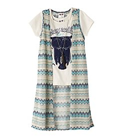 Belle du Jour Girls' 7-16 Short Sleeve Owl Tee And Zigzag Duster