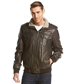 Levi's® Men's Faux Leather Two Pocket Military Bomber With Sherpa Lining