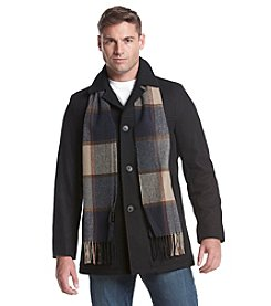 Tommy Hilfiger® Men's Wool Melton Walking Coat With Detachable Scarf