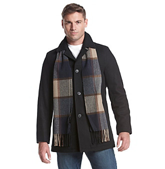 Tommy Hilfiger Wool Melton Walking Mens Coat With Detachable Scarf