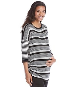 Three Seasons Maternity™ Contrast Stripe Side Ruche Top