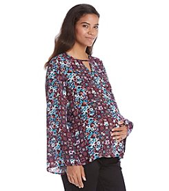 Three Seasons Maternity™ Bell Sleeve Peek A Boo Neck Floral Top