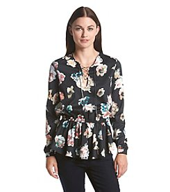 Chelsea & Theodore® Mixed Flower Lace Up Blouse