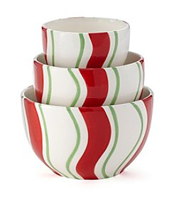LivingQuarters Set of 3 Striped Bowls
