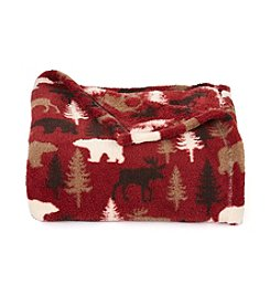 LivingQuarters Moose Trees Patterned Micro Cozy Throw