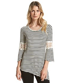 Notations® Asymmetrical Striped Knit Top