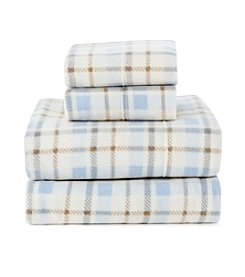 LivingQuarters Plaid Patterned Cold Weather Fleece Ultra Warm Sheet Set