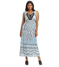 Oneworld® Plus Size Printed Crochet Neck Maxi Dress