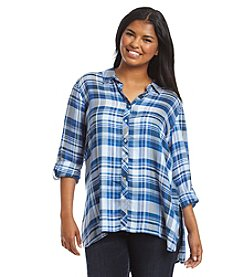 Cupio Plus Size Plaid Button Front Top