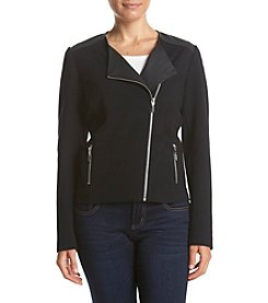 Rafaella® Petites' Ponte Moto Jacket With Faux Leather Trim