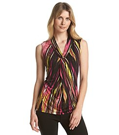 Relativity® Rain Stripe Printed V-Neck Tank Top