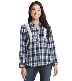 Ruff Hewn Petites' Plaid Dobby Flannel Henley Top