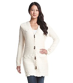 Ruff Hewn Petites' Button Front Cable Knit Cardigan