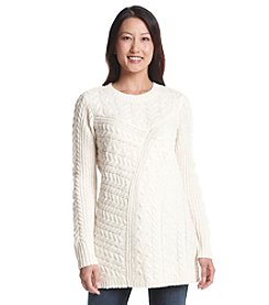 Ruff Hewn Petites' Cable Knit Pullover Sweater