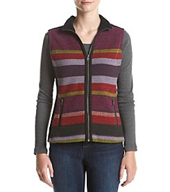 Ruff Hewn Petites' Stripe Sweater Front Polar Fleece Vest