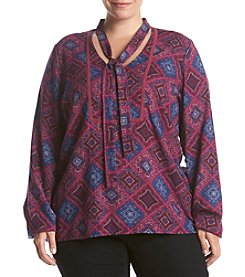 Ruff Hewn Plus Size Printed Peasant Top