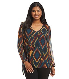Ruff Hewn GREY Plus Size Geo Print Double Layer Top