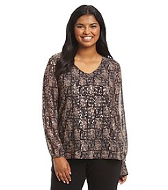 Ruff Hewn GREY Plus Size Metallic Tile Print Double Layer Top